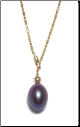 14K Solid Gold Dark Blue gen Pearl Necklace