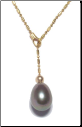 14K Solid Gold Natural Black Pearl Necklace